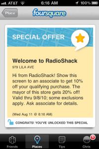 RadioShack vous accueille également sur Foursquare et vous offre 10% sur vos achats